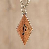 Wood pendant necklace, 'Musical Harmony' - Music-Themed Jobillo Wood Rhombus Pendant Necklace