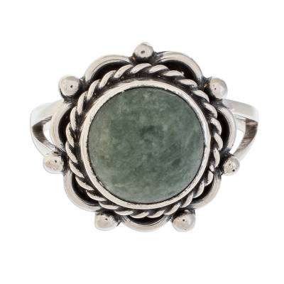 Jade cocktail ring, 'Sunrise in Antigua' - Natural Jade Cocktail Ring Crafted in Guatemala
