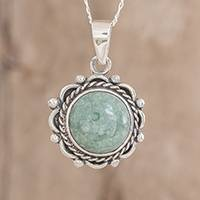Jade pendant necklace, 'Sunrise in Antigua'