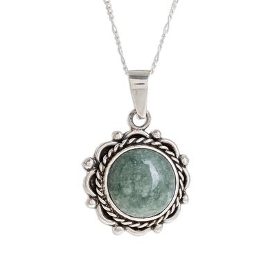 Jade pendant necklace, 'Sunrise in Antigua' - Natural Jade Pendant Necklace from Guatemala
