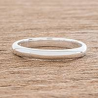 Sterling silver band ring, 'Love Simplicity' - High-Polish Sterling Silver Band Ring from Guatemala