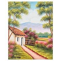 'Magic Village' - Signed Painting of a Countryside Cottage from Guatemala