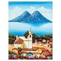 'Faith of a Village' - Signed Landscape Painting of a Village Church from Guatemala