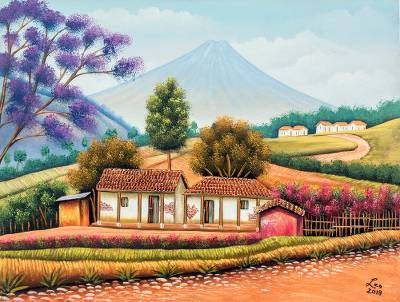'Paths of My Village' - Signed Painting of Village Cottages from Guatemala