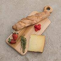 Teak wood cutting board, 'Morning Baguette' (15 inch) - Handmade Teak Wood Cutting Board from Guatemala (15 in.)