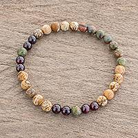 Multi-gemstone beaded stretch bracelet, 'Magic Land' - Multi-Gemstone Beaded Stretch Bracelet from Guatemala