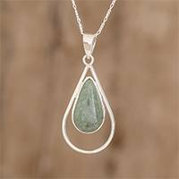 Jade pendant necklace, 'Apple Green Usumacinta Drop' - Teardrop Apple Green Jade Pendant Necklace from Guatemala
