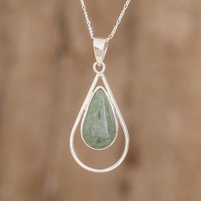 Jade pendant necklace, Apple Green Usumacinta Drop