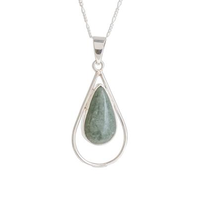 Jade pendant necklace, 'Apple Green Usumacinta Drop' - Teardrop Apple Green Jade Pendant Necklace from Guatemala
