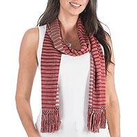 Reversible rayon scarf, 'Sweet Fruit' - Reversible Rayon Scarf in Crimson and Ivory from Guatemala