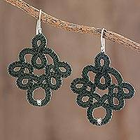 Hand-tatted dangle earrings, 'Viridian Lace' - Hand-Tatted Dangle Earrings in Viridian from Guatemala
