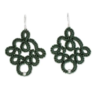 Hand-Tatted Dangle Earrings in Viridian from Guatemala