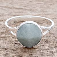 Jade cocktail ring, 'Facet Beauty'