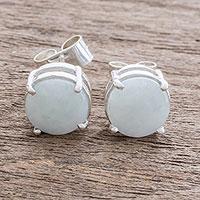 Jade stud earrings, 'Maya Sweets in Apple Green' - Apple Green Jade Stud Earrings from Guatemala