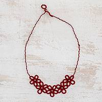 Hand-tatted pendant necklace, 'Cherry Flowers' - Hand-Tatted Floral Pendant Necklace in Cherry from Guatemala