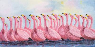 'Flamingos' - Signed Realist Flamingo Painting from Guatemala