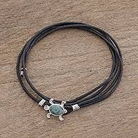 Jade wrap anklet, 'Apple Green Sea Turtle Charm' - Apple Green Jade Sea Turtle Wrap Anklet from Guatemala