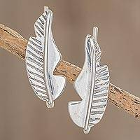 Sterling silver climber earrings, 'Leaf on the Wind' - Sterling Silver Leaf Climber Earrings from Guatemala