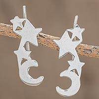 Sterling silver climber earrings, 'Starry Moon'
