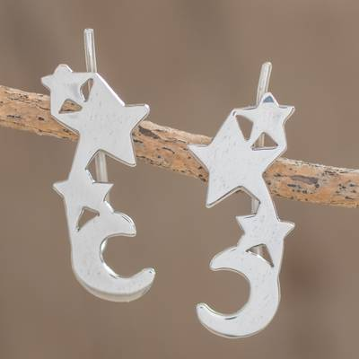 Sterling silver climber earrings, 'Starry Moon' - Sterling Silver Star and Moon Earrings from Guatemala