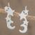 Sterling silver climber earrings, 'Starry Moon' - Sterling Silver Star and Moon Earrings from Guatemala thumbail