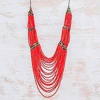 Ceramic beaded strand necklace, 'Summery Breeze in Red' - Ceramic Beaded Strand Statement Necklace in Red
