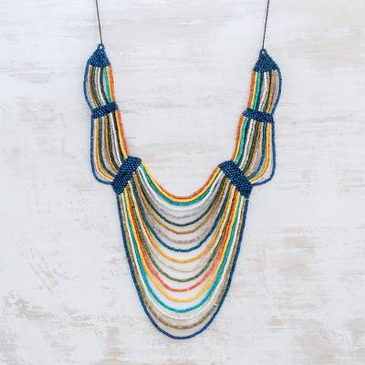Ceramic beaded strand necklace, 'Summery Breeze in Multicolor' - Ceramic Beaded Strand Statement Necklace in Multicolor