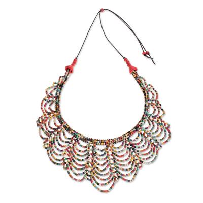 Ceramic beaded strand necklace, 'Calm Rain in Multicolor' - Multicolored Ceramic Beaded Strand Necklace from Guatemala