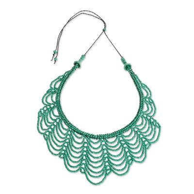 Green Ceramic Beaded Strand Necklace from Guatemala