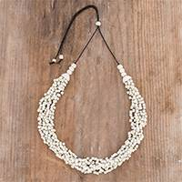 Ceramic beaded torsade necklace, 'Oceanic Breeze in White' - Ceramic Beaded Torsade Necklace in White from Guatemala