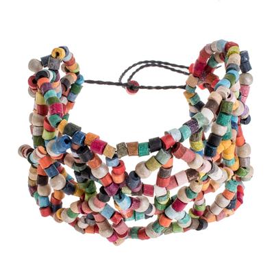 Ceramic Beaded Wristband Bracelet in Multicolor