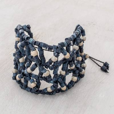 Ceramic beaded wristband bracelet, 'Geometric Web in Blue' - Ceramic Beaded Wristband Bracelet in Blue from Guatemala