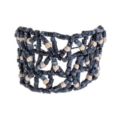 Ceramic Beaded Wristband Bracelet in Blue from Guatemala