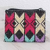 Ceramic beaded coin purse, 'Geometric Illusion' - Colorful Geometric Ceramic Beaded Coin Purse from Guatemala