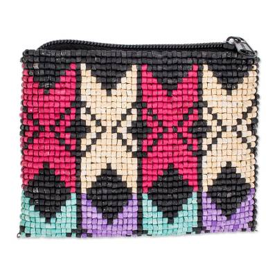 Colorful Geometric Ceramic Beaded Coin Purse from Guatemala