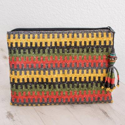 Ceramic beaded clutch, 'Complementary Stripes' - Striped Ceramic Beaded Clutch from Guatemala