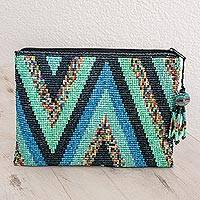 Ceramic beaded clutch, 'Lakes and Mountains' - Zigzag Ceramic Beaded Clutch from Guatemala