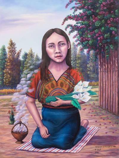 'Thank God for Life' - Signed Realist Painting of a Guatemalan Woman