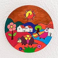 Wood wall art, 'My Colorful Land' - Hand-Painted Landscape Pinewood Wall Art from El Salvador