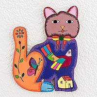 Wood wall art, 'Colorful Cat' - Hand-Painted Cat Wood Wall Art from El Salvador