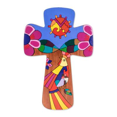 Religious Pinewood Wall Cross from El Salvador
