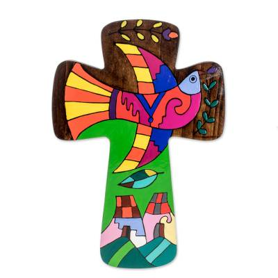 Colorful Pinewood Wall Cross from El Salvador