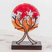Art glass sculpture, 'Fruit of Life in Red' - Circular Art Glass Sculpture in Red from El Salvador