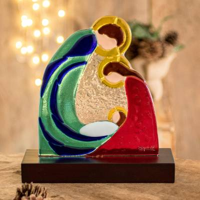 Art glass nativity sculpture, 'Life and Love' - Colorful Art Glass Nativity Sculpture from El Salvador