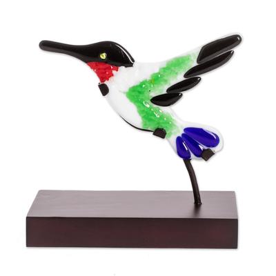 Art Glass Hummingbird Sculpture from El Salvador
