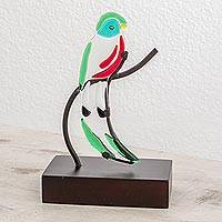 Art glass sculpture, 'Quetzal' - Art Glass Quetzal Bird Sculpture from El Salvador