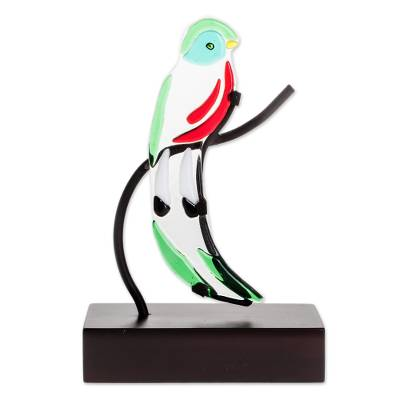 Art Glass Quetzal Bird Sculpture from El Salvador