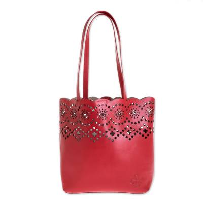 Handmade Leather Handbags in Crimson (Set of 3)
