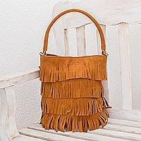 Suede handle handbag, 'Bohemian Ginger' - Fringed Suede Handle Handbag in Ginger from El Salvador