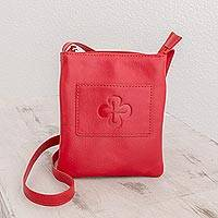 Leather sling, 'Crimson Cross' - Cross Pattern Leather Sling in Crimson from El Salvador